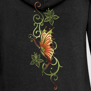 Floral ornament with flowers and butterfly - Women's Premium Hooded Jacket