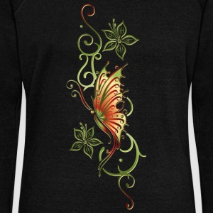 Floral ornament with flowers and butterfly - Women's Boat Neck Long Sleeve Top