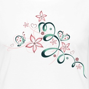 Flowers with hearts and butterflies, girlie style. - Women's Premium Longsleeve Shirt