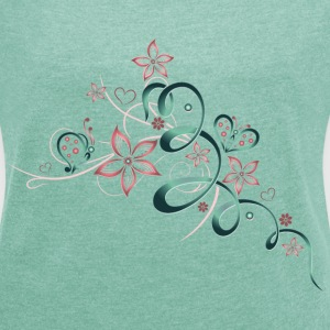 Flowers with hearts and butterflies, girlie style. - Women's T-shirt with rolled up sleeves