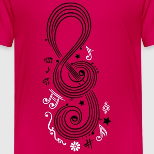 Big Clef with music notes and design elements - Kids' Premium T-Shirt