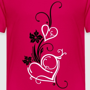 Two hearts with blossoms - Teenage Premium T-Shirt