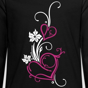 Two hearts with blossoms - Teenagers' Premium Longsleeve Shirt