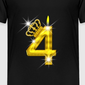 4 verjaardag - Crown - kaars - goud Shirts - Teenager Premium T-shirt