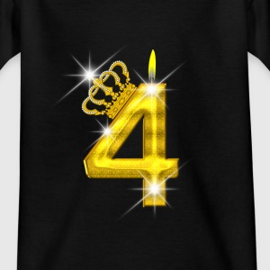 4 verjaardag - Crown - kaars - goud Shirts - Teenager T-shirt