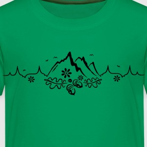 Heartbeat, love for hiking and mountaineering - Kids' Premium T-Shirt
