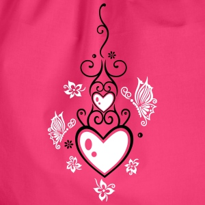 Hearts with tribal, flowers and butterflies.  - Drawstring Bag