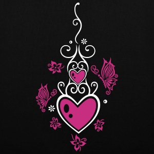 Hearts with tribal, flowers and butterflies.  - Tote Bag