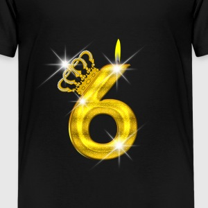 6 verjaardag - Crown - kaars - goud Shirts - Teenager Premium T-shirt
