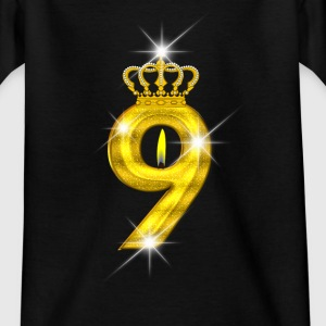 9 verjaardag - Crown - kaars - goud Shirts - Teenager T-shirt