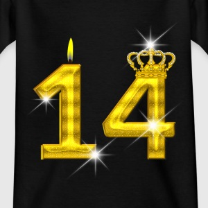 14 verjaardag - Crown - kaars - goud Shirts - Teenager T-shirt