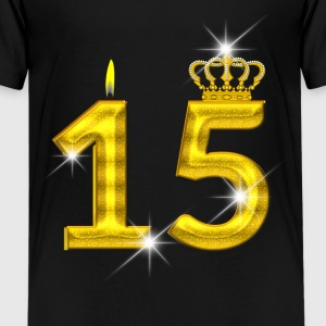 15 verjaardag - Crown - kaars - goud Shirts - Teenager Premium T-shirt