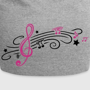 Music, clef with stars and music notes - Jersey Beanie