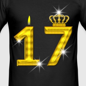 17 birthday - Crown - candle - gold T-Shirts - Men's Slim Fit T-Shirt