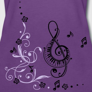 Clef with music notes and floral elements - Women's Premium Tank Top