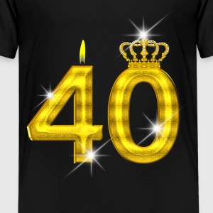 40 verjaardag - Crown - kaars - goud Shirts - Teenager Premium T-shirt
