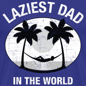 Laziest Dad In The World | Palm Tree And Hammock T-Shirts - Men's Premium T-Shirt