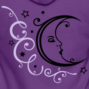 Feminine moon with ornament and stars. - Women's Premium Hooded Jacket