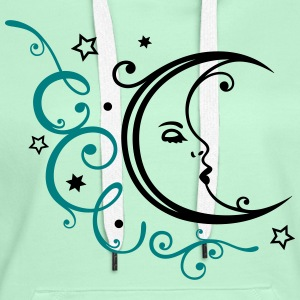 Feminine moon with ornament and stars. - Women's Premium Hoodie