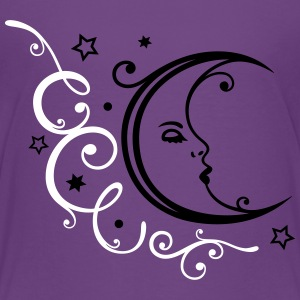 Feminine moon with ornament and stars. - Kids' Premium T-Shirt