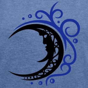 Large moon with Tribal ornament. - Women's T-shirt with rolled up sleeves