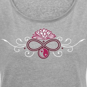 Large lotus flower with infinty and yin and yang - Women's T-shirt with rolled up sleeves
