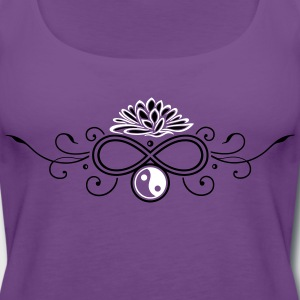 Large lotus flower with infinty and yin and yang - Women's Premium Tank Top
