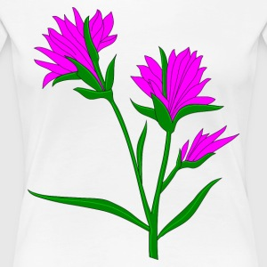 flowers with green stems, pink, purple, colored pe - Women's Premium T-Shirt