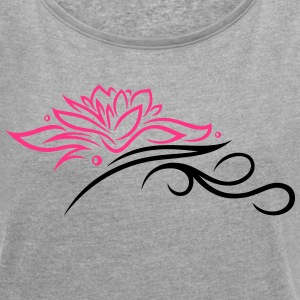 Large lotus flower with small tribal. - Women's T-shirt with rolled up sleeves