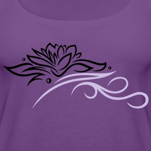 Large lotus flower with small tribal. - Women's Premium Tank Top