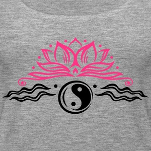Large lotus flower with yin and yang symbol. - Women's Premium Tank Top