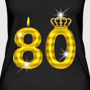 80 bursdag - Crown - stearinlys - gull Topper - Øko-singlet for kvinner