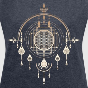 Flower of life, sacred geometry, amulet, yoga, T-Shirts - Women's T-shirt with rolled up sleeves