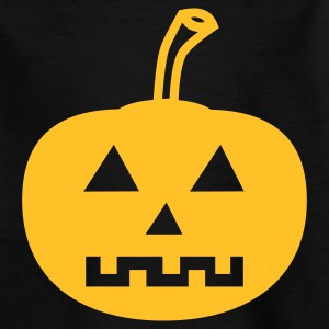 Kinder-Shirt schwarz –  Halloween-Kürbis goldgelb - Teenager T-Shirt