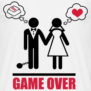 Game over,bachelor, party,Couples,Funny,Couple - Men's T-Shirt