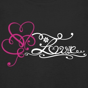 Two big hearts with lettering and flower. - Kids' Premium Longsleeve Shirt