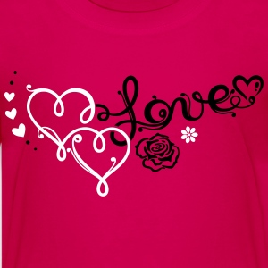 Two big hearts with rose - Teenage Premium T-Shirt