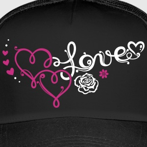 Two big hearts with rose - Trucker Cap