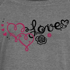 Two big hearts with rose - Women's Boat Neck Long Sleeve Top