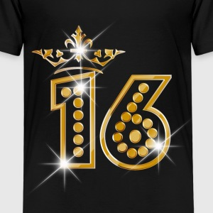 16 - Birthday - Queen - Gold - Burlesque Shirts - Kinderen Premium T-shirt