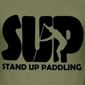 Stand Up Paddling Silouette T-Shirts - Männer Slim Fit T-Shirt