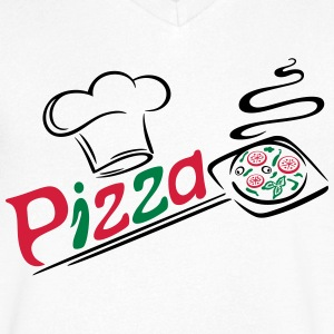 Pizza baker with cooking cap, Italian food. - Men's V-Neck T-Shirt
