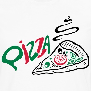 Big slice of Pizza with lettering, Italian food. - Men's Premium Longsleeve Shirt