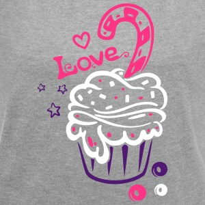 Cupcake, Muffin with sweets - Women's T-shirt with rolled up sleeves