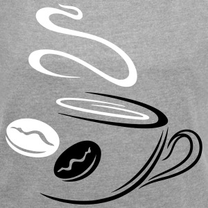 Large coffee cup with coffee beans. - Women's T-shirt with rolled up sleeves