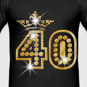 40 - Birthday - Queen - Gold - Burlesque T-Shirts - Men's Slim Fit T-Shirt