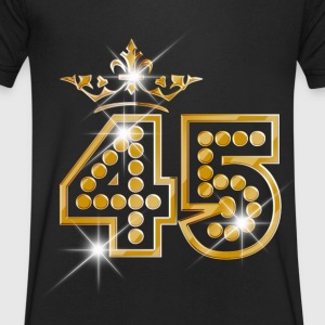 45 - Birthday - Queen - Gold - Burlesque Tee shirts - T-shirt Homme col V