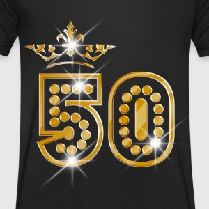 50 - Birthday - Queen - Gold - Burlesque Camisetas - Camiseta de pico hombre
