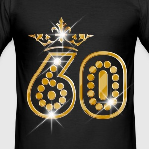 60 - Birthday - Queen - Gold - Burlesque T-shirts - Herre Slim Fit T-Shirt