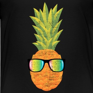 Pineapple With Rainbow Sunglasses | Cool 80s Style T-shirts - Premium-T-shirt tonåring
